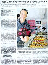 Article Ouest-France : Alban Guilmet rejoint l'élite de la haute pâtisserie