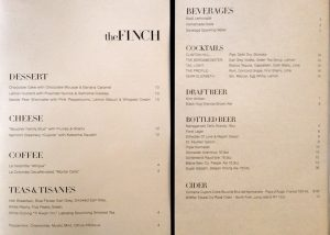 The Finch wine list